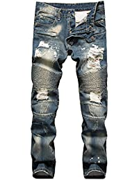 Men's Ripped Slim Straight fit Biker Jeans with Zipper Deco
