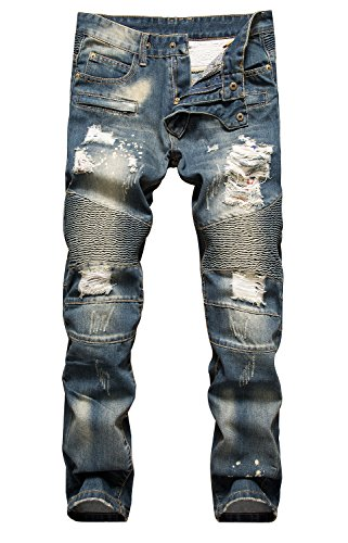 NITAGUT Men's Ripped Slim Straight fit Biker Jeans Dark Blue