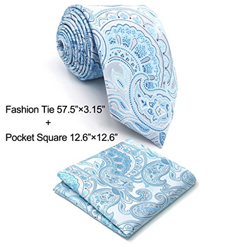 (Shlax&Wing Paisley Silver Light Blue Neckties Silk Ties For Men)