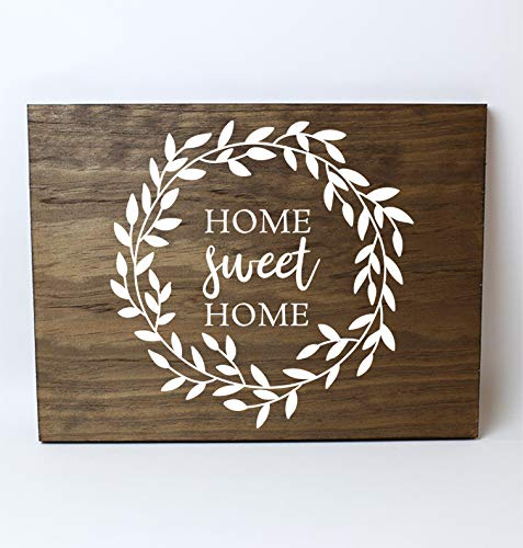Leaves Wall Plaques - Home Sweet Home Leaf Wreath Solid Pine Wood Wall Plaque Sign