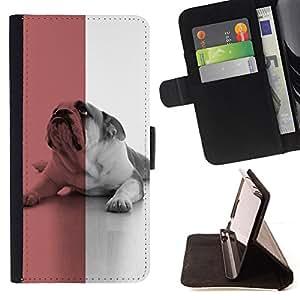 KingStore / Leather Etui en cuir / HTC One M9 / British Bulldog Inglés Red Dog Símbolo Bandera
