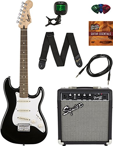 Squier by Fender Short Scale Stratocaster Pack with Frontman 10G Amp Cable Strap Picks and Online Lessons  Black Bundle with Austin Bazaar Instructional DVD
