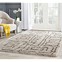 Safavieh Belize Shag Collection SGB487D Taupe and Grey Area Rug (51 x 76)