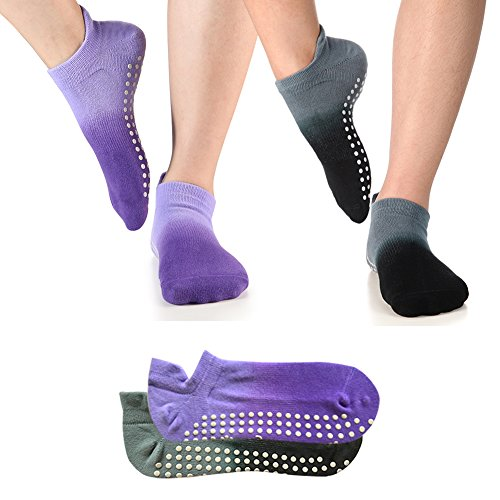 Yoga Socks Non Slip Skid Pilates Barre Workout Socks With Grips For Women 2 Pack Grey&Purple