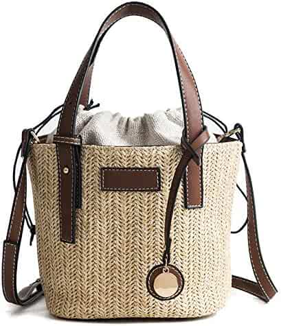 Women Straw Weave bag Messenger Shoulder female Bucket handbag Summer New  Casual Simple Bags for 2018 f3ed07fb9927c