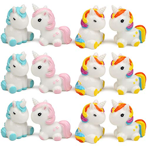 (UANDME 12Pcs Rainbow Unicorn Figurines Cake Toppers, Ceramic Unicorn Toy Figures (12 per Package))