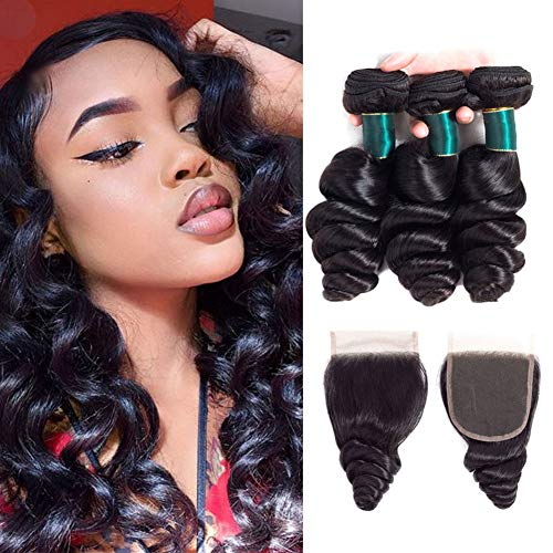 Brazilian Loose Wave Bundles with Closure (10 12 14+8) Loose Deep Wave Human Hair Bundles with Closure 4x4 Free Part 100% Unprocessed Virgin Human Hair Natural Color ()