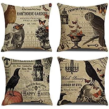 RUOAR Pack of 4 Vintage Halloween Pillow Covers Owl Crow Pumpkin Skull Throw Pillow Covers Halloween Cushion Covers 18 x 18 inch