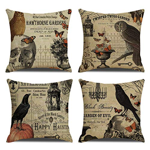 RUOAR Pack of 4 Vintage Halloween Pillow Covers Owl Crow Pumpkin Skull Throw Pillow Covers Halloween Cushion Covers 18 x 18 inch -