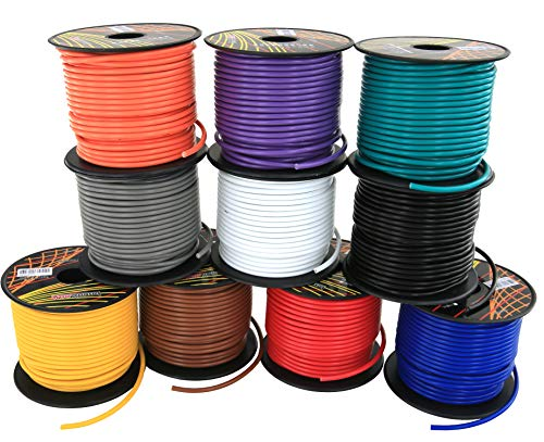 16 GA Primary Wire 10 Roll Color Combo | 100 ft per Color (1000' total) CCA Cable for Automotive Trailer Harness Car Speaker Amplifier Wiring (Others in Product Family: 4 & 6 Color Pack)