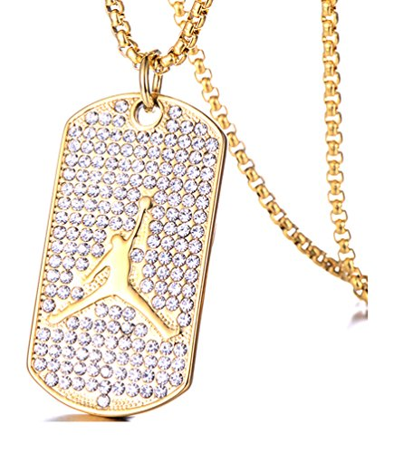 Towlimss Hip Hop 18K Gold Plated Titanium Steel Crystal Basketball Dog Tag Pendant Necklace(Gold)