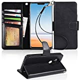 LG G7 Case, LG G7 ThinQ case, Arae [Stand Feature] PU Leather Wallet case with Wrist Strap and [4-Slots] ID&Credit Cards Pocket for LG G7/LG G7 ThinQ - Black