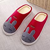 Rabbit Indoor Home Wooden Floor Warm Slippers Men and Women Couple Winter Warm Cotton Slippers Cotton Shoes (Color : Red, Size : 3)