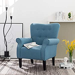 Simhoo Club Accent Chair/Wingback Side Chairs Modern Linen Fabric Upholstered Tufted ArmChair for Living Room,Bedroom…
