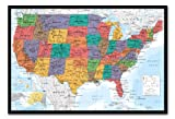 united states cork map - USA United States Map Wall Chart Poster Cork Pin Memo Board Black Framed - 96.5 x 66 cms (Approx 38 x 26 inches)