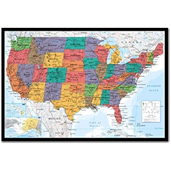Amazoncom USA United States Map Wall Chart Poster Cork Pin Memo - Corkboard us map