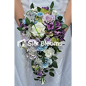 Artificial Lilac, Blue and Purple Fresh Touch Rose and Iris Cascade Bouquet 10