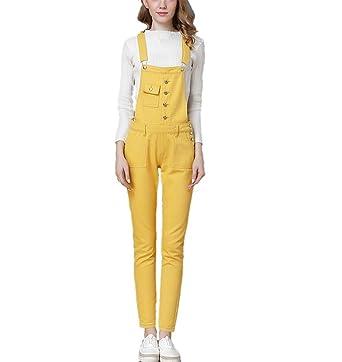 8ca259480f5 Amazon.com  Women s Juniors Cute Basic Candy Color Denim Bib Overall ...