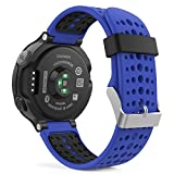 Garmin Forerunner 235 Watch Band, MoKo Soft Silicone Replacement Watch Band for Garmin Forerunner 235 / 220 / 230 / 620 / 630 / 735 Smart Watch - ROYAL BLUE & BLACK