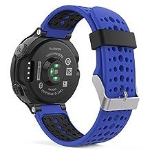 Garmin Forerunner 235 Watch Band, MoKo Soft Silicone Replacement Watch Band for Garmin Forerunner 235 / 220 / 230 / 620 / 630 / 735 Smart Watch - ROYAL BLUE & BLACK