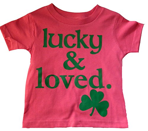 Custom Kingdom Big Girls Lucky and Loved Irish Shamrock T-Shirt Pink (Large 14/16)