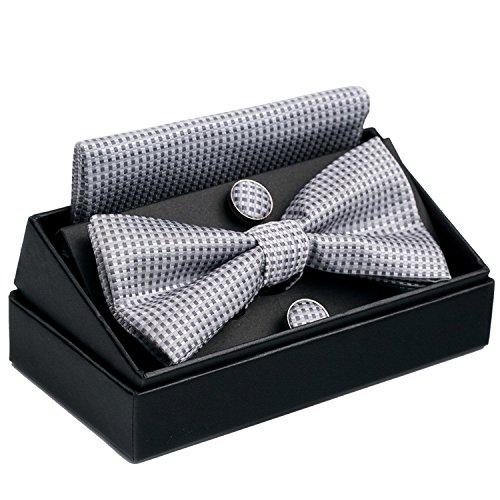 OUMUS Pre-Tied Bow Tie / Pocket Square & Cufflinks Gift Set, (Gift Silver Cufflinks)