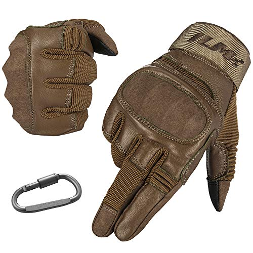 - ILM Tactical Gloves Men Touchscreen - Military Mechanic Hunting Shooting Combat Airsoft Heavy Duty Knuckle Gloves Motorcycle Cycling ATV MTV (XL, Tan)