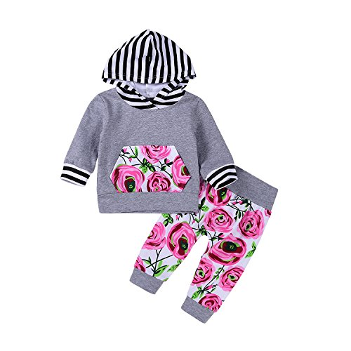 2Pcs Baby Girls Striped Hoodies Pocket T-shirt Top with Floral Long Pants Christmas Clothes (0-6Months, Gray)