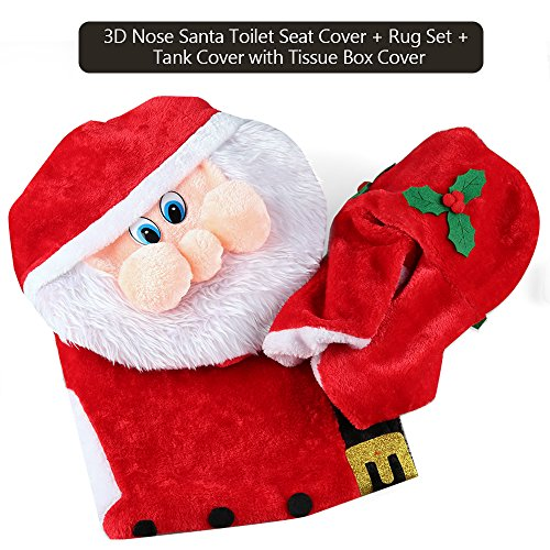 Amazon D FantiX 3D Nose Santa Toilet Seat Cover Set Red Christmas Decorations Bathroom Of 3 Home Kitchen