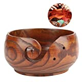 Handmade Wood Yarn Bowl, Natural Handmade Crafted Wooden Yarn Bowl for Knitting Crochet Home Decor(Diameter 14-16CM)