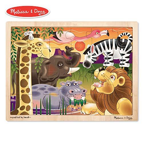 (Melissa & Doug African Plains Wooden Jigsaw Puzzle (Preschool, Sturdy Wooden Construction, 24 Pieces, 15.55″ H × 11.6″ W × 0.35″ L))