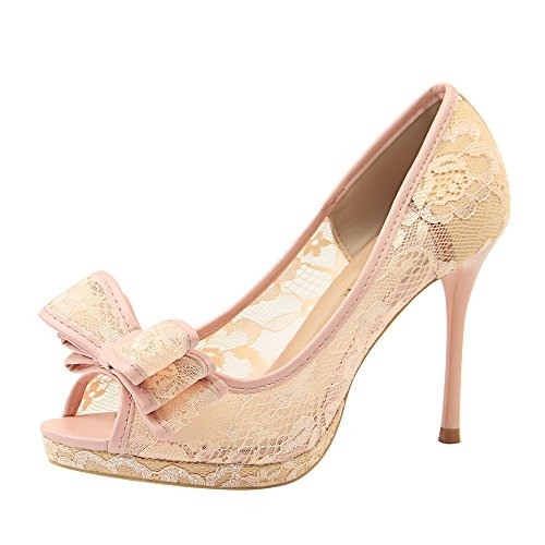 LIBERVIV Women Sweet Bow Stilettos Peep Toe Sexy Floral Lace Sandals Mesh Fabric Platform Pumps (Sexy Pink Lace Stiletto Heel)