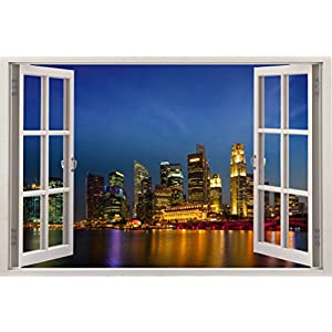 Realistic Window Wall Decal – Peel and Stick Singapore Decor for Living Room, Bedroom, Office, Playroom – City Wall Murals Removable Window Frame Style Urban Wall Art – Vinyl Poster Wall Stickers