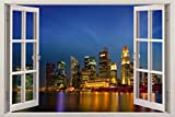 Bomba-Deal Realistic Window Wall Decal – Peel Stick Singapore Decor Living Room, Bedroom, Office, Playroom – City Wall Murals Removable Window Frame Style Urban Wall Art – Vinyl Poster Wall Stickers