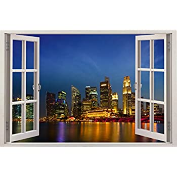 Amazoncom D Depth Illusion Vinyl Wall Decal Sticker Window - Window stickers for home singapore