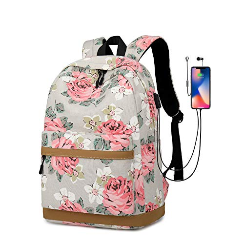ZJROYAL New Canvas Print Backpack Women's Large Capacity Travel Backpack for Girl's School Student College Business Travel with USB Charging Port 15.6Inch Laptop Bag Flowers Bag(Gray)
