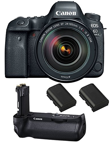 Canon EOS 6D Mark II DSLR Camera with EF 24-105mm f/4 is II USM Lens, Canon BG-E21 Battery Grip, 2 Spare Batteries