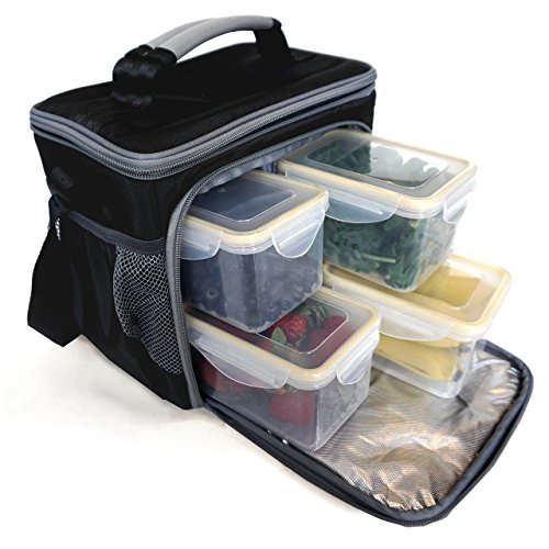 Lunch Pak (Meal Prep Lunch Box Including 4 Containers and 1 Ice Pack by MaxPak)