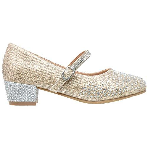 Shoes SOBEYO MARY 48 Strap Low SBO Glitter Heel Girls Rhinestone Kids Pumps Gold Mary Dress Jane EE7qSr