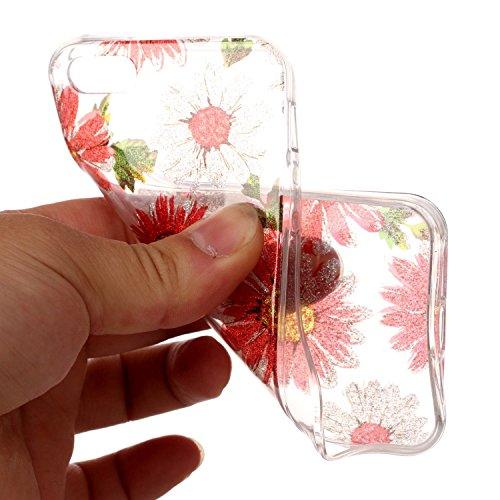 Custodia iPhone 5 5S SE , LH Margherita TPU Trasparente Silicone Cristallo Morbido Case Cover Custodie per Apple iPhone 5 5S SE