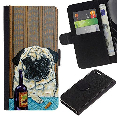 LASTONE PHONE CASE / Luxe Cuir Portefeuille Housse Fente pour Carte Coque Flip Étui de Protection pour Apple Iphone 6 4.7 / Pug Art Wrinkles Painting Wine Dog