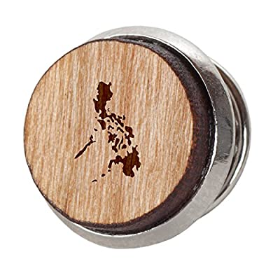 Philippines Stylish Cherry Wood Tie Tack- 12Mm Simple Tie Clip With Laser Engraved Design - Engraved Tie Tack Gift