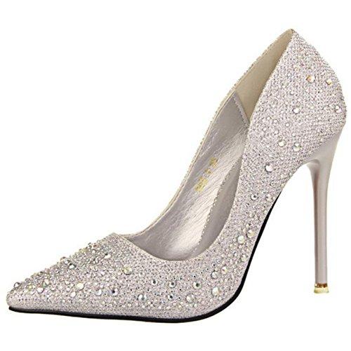 Mashiaoyi Damen Spitze-Zehe Stiletto ohne Verschluss Diamant Pumps Silber