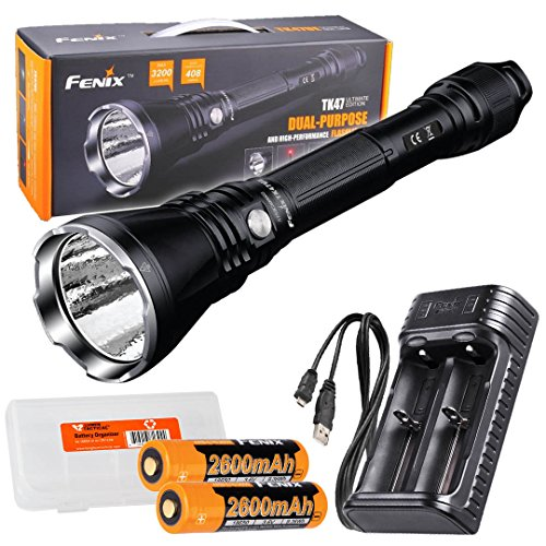 Fenix TK47UE Ultimate Edition 3200 Lumen LED Tactical Flashlight w/ 2x 18650 batteries, Fenix ARE-X2 USB charger, and LumenTac Battery Organizer by Fenix