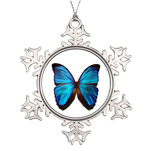 (Personalised Christmas Tree Decoration Blue Morpho Butterfly Wedding Snowflake)