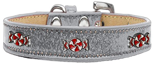 Mirage Pet Products 633-28 SV18 Peppermint Widget Ice Cream Dog Collar, Size 18, Silver