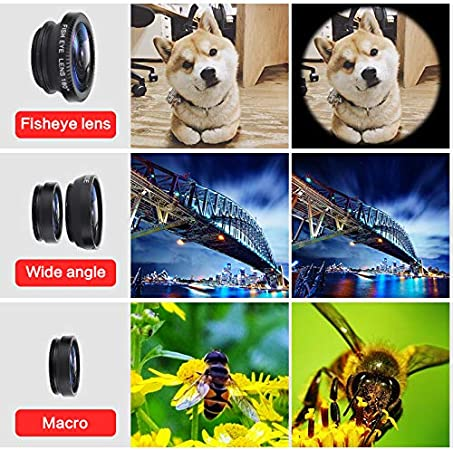 Clips-On Cell Phone Lens for Samsung//iPhone//Most Smartphones twbbt 3 in 1 Cell Phone Lens,180/° Fisheye Lens 0.67XWide Angle Lens 10X Macro Lens