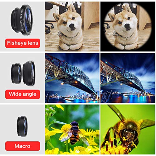 Bigmai 3 in 1 Phone Lens Kit - Macro Lens,Wide Angle Lens,Fisheye, Clip-On Cell Phone Camera Lenses for iPhone Android Samsung Mobile Phones and Tablets (red) by Bigmai (Image #7)