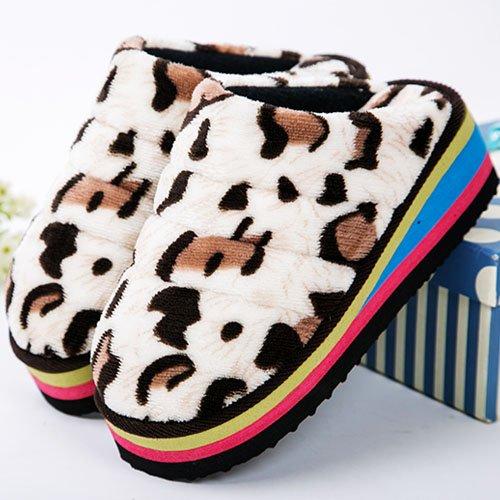 LaxBa Ladies Cachemire tricoté coton Maison Chaussons antiglisse couleur vache 34-35