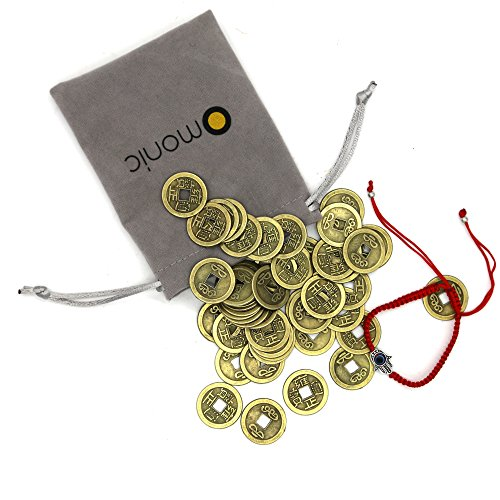 Bracelet Coin Chinese (Omonic 50pcs Chinese Feng Shui Coins FengShui Fortune Coin 24mm (0.82